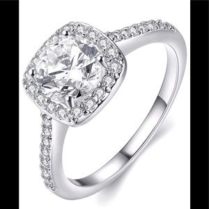 Jewelry - New Size 7 CZ Silver Plated Engagement Ring
